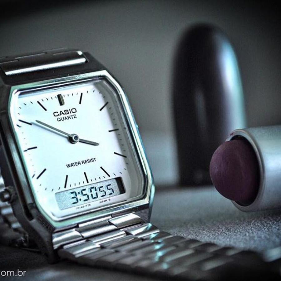 99bbd49fc73 Relógio Casio Prateado Vintage Analógico e digital AQ230A7DMQU
