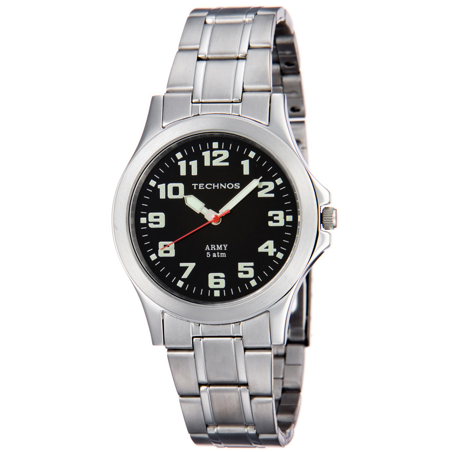 55e1c2d3adb31 Relógio Technos Masculino Prateado Steel Army Analógico 2035JE 1P