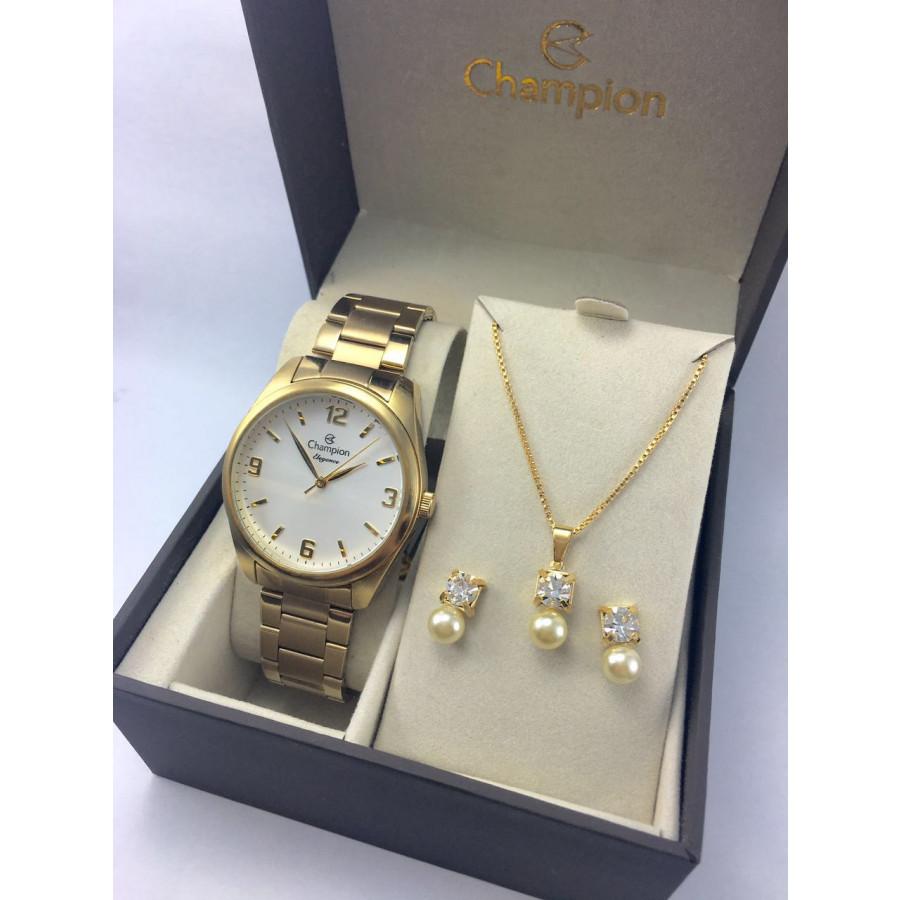 6d793b6d265 Kit Relógio Champion Dourado Feminino CN26046W