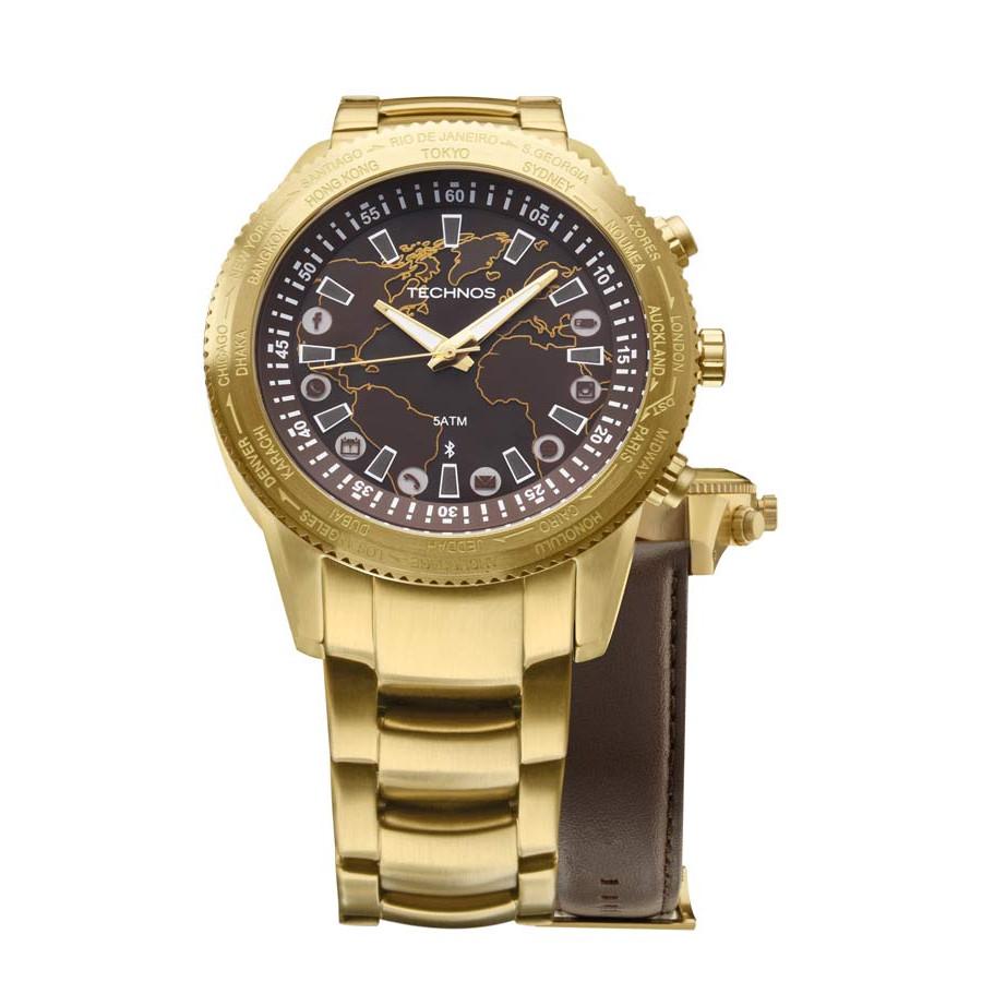 b89e076a9cb KIt Relógio Technos Masculino Dourado Connect 753AC 4M