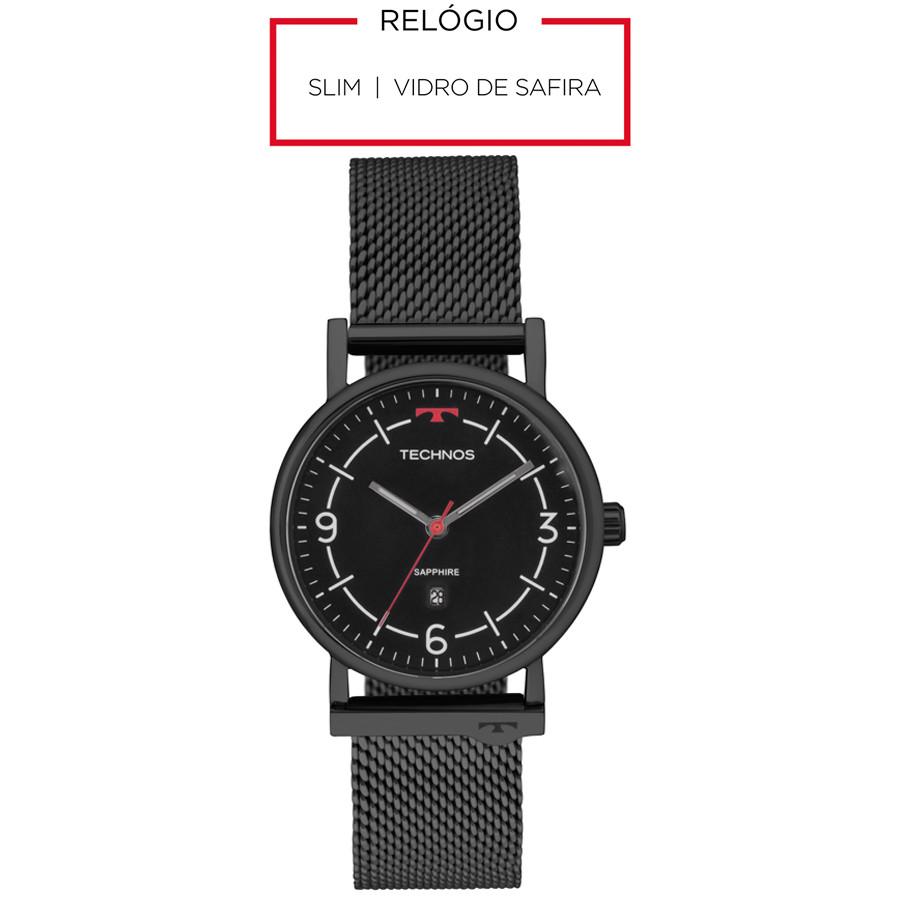 Relógio Technos Masculino Preto Classic Slim 9U13AA 4P 4c18cf8106