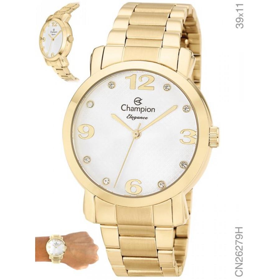 Relógio Champion Elegance Feminino Dourado CN26279H 51cd6b43da