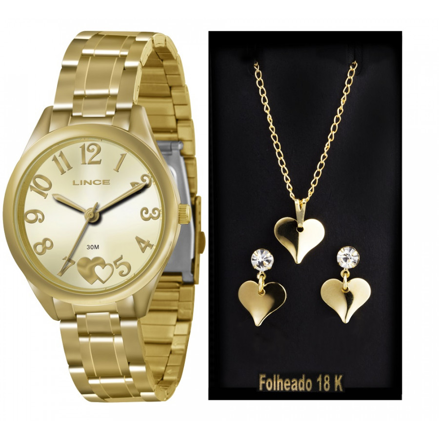b181ead826a Kit Relógio Lince Dourado Feminino LRG4290LK116 + Brincos e Colar
