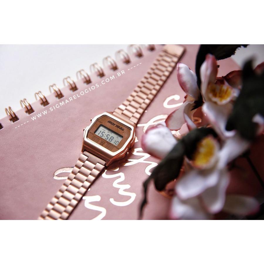 b564f85bb9e Relógio Mormaii Vintage Digital Rosé MOJH02AI 4J