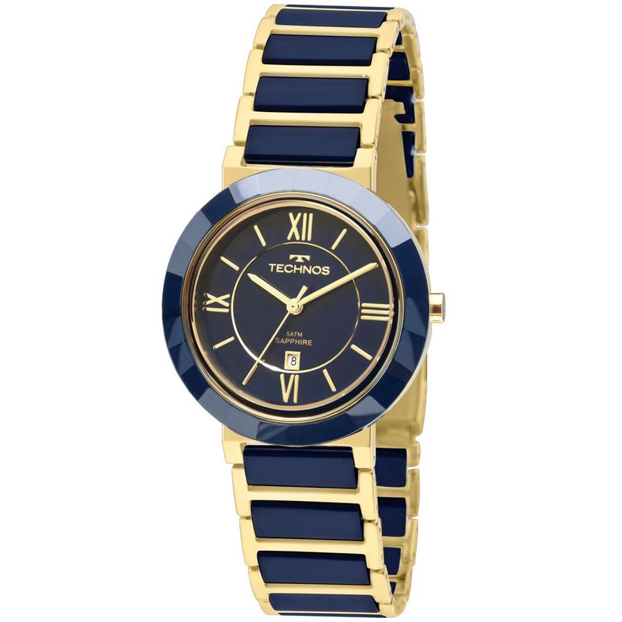 Relógio Technos Azul e Dourado Feminino Ceramic 2015CE 5A 96e72d794c