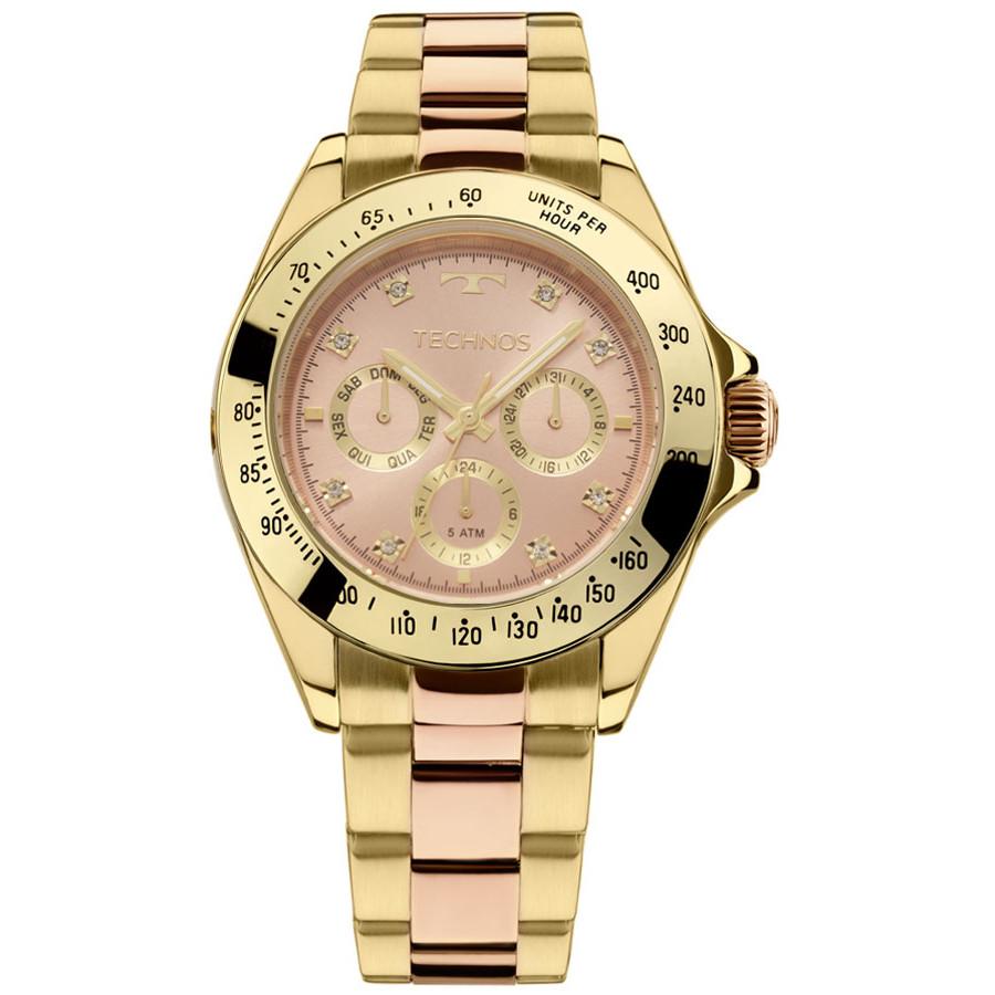 Relógio Technos Dourado e Rose Feminino Elegance Ladies Multi-função  6P29AIU 5T 388d17f794