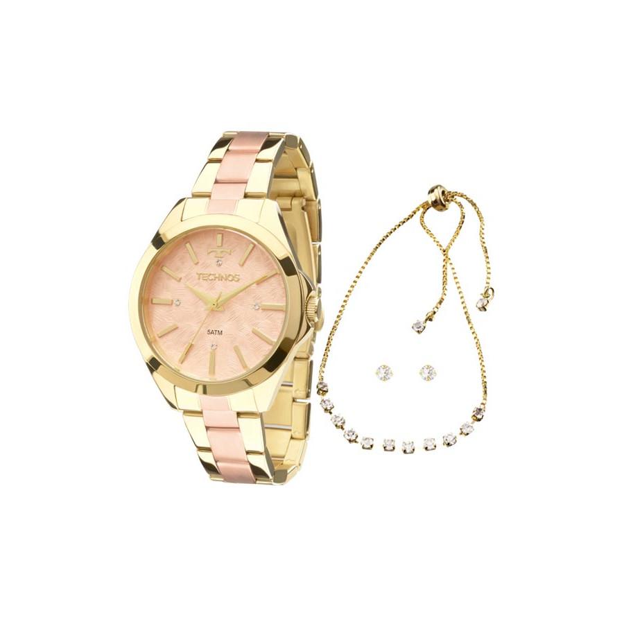 16c65b6fc3ef3 Relógio Technos Dourado e Rose Feminino Fashion Trend Analógico 2039BI K5T  + Colar e Brincos