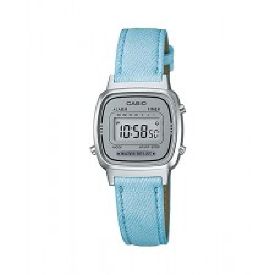 cb8fb6bfe42 Relógio Casio Feminino Prateado Vintage Digital LA670WL2ADF Com Pulseira de  Couro