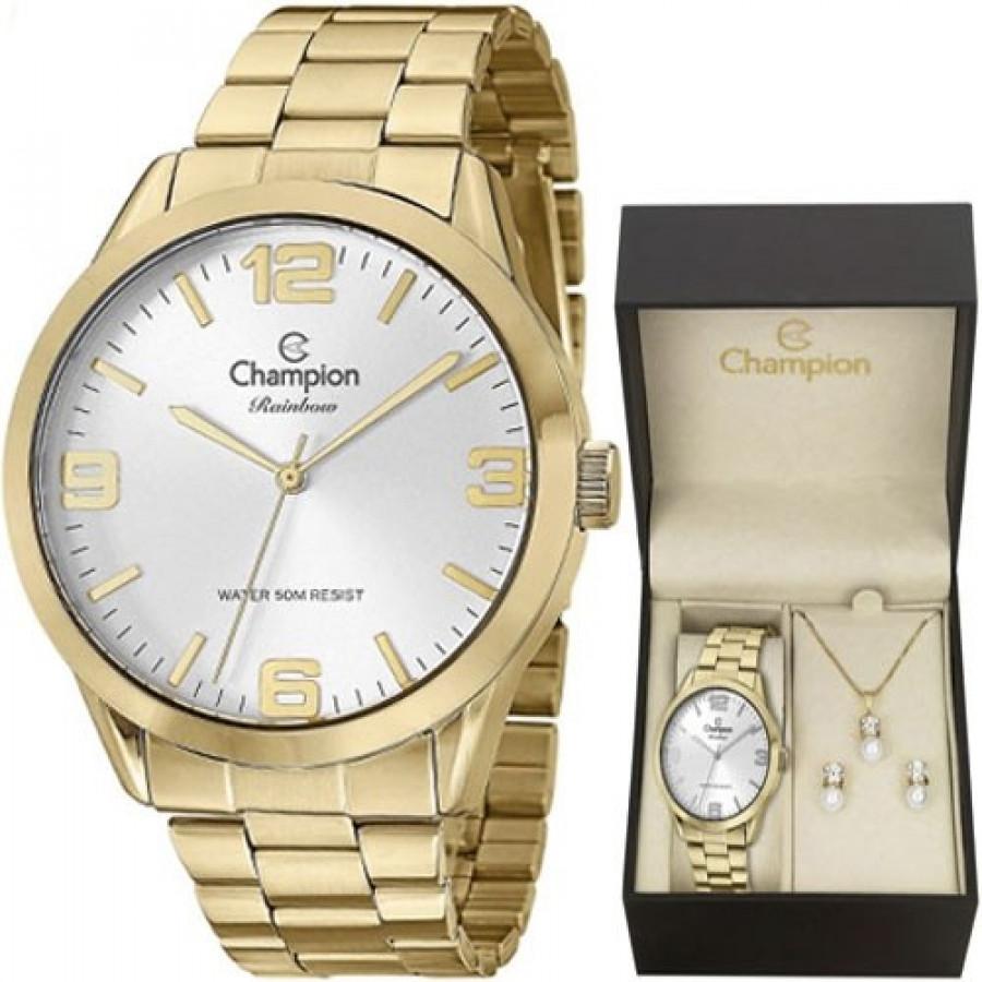 63a53746336 Kit Relógio Champion Dourado Feminino CN29892Z