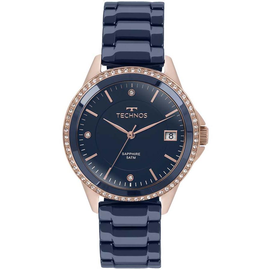 Relógio Technos Rosé e Azul Feminino Ceramic 2315KZT 4A 394570a746
