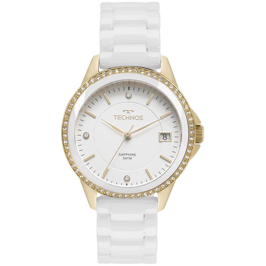 Relógio Technos Dourado e Branco Ceramic 2315KZS 4B 36ecdbcfd3