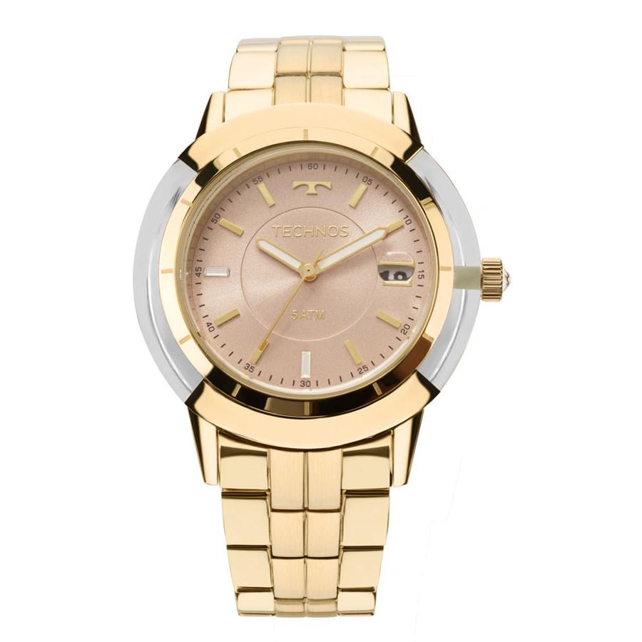 Relógio Technos Dourado Feminino Elegance Crystal Analógico 2317AB 4T f001fdd03b