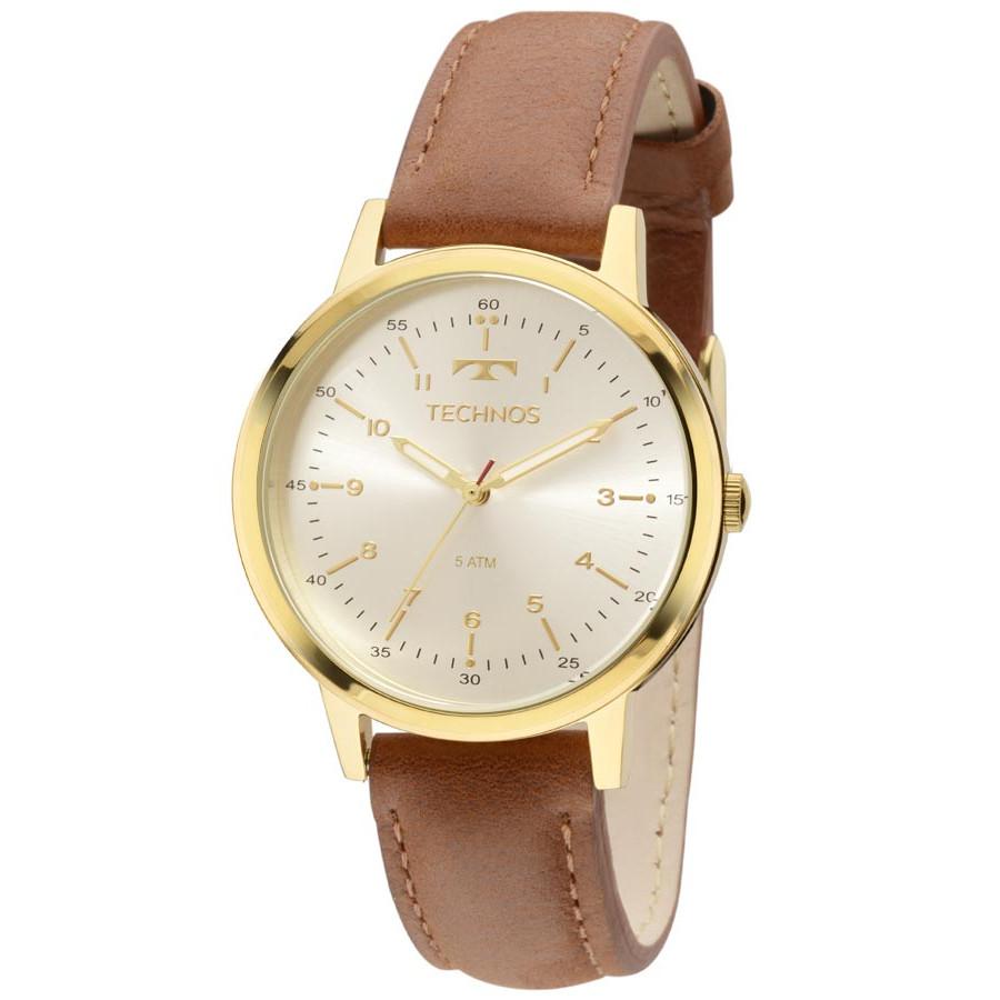 c6a32ecaa1465 Relógio Technos Dourado Feminino Elegance Dress Analógico 2035MFM 0K Com  Pulseira de Couro