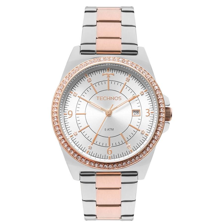 9e5d64fad3949 Relógio Technos Feminino Prateado e Rosé 2115MMP 5K