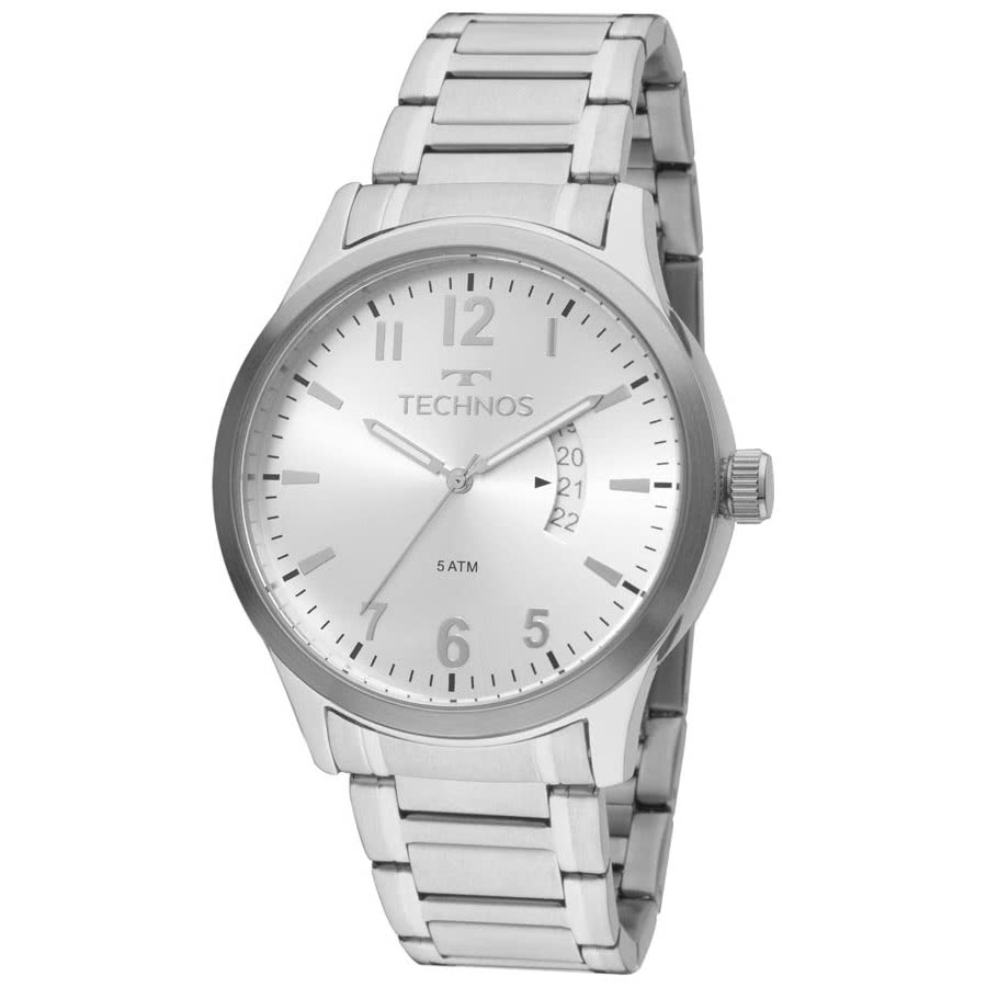 Relógio Technos Prateado Masculino Classic Steel 2115KTN 1K c165d12eeb