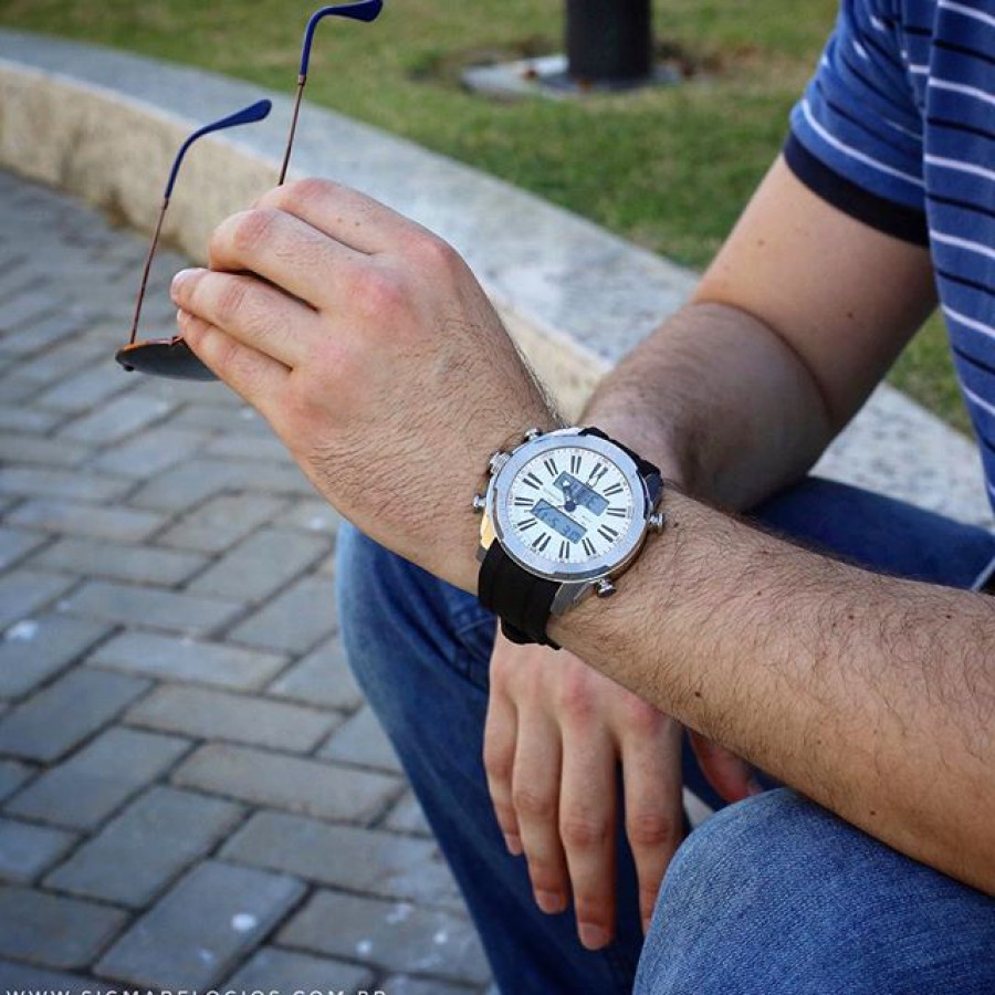 58a3249bb0d Relógio Technos Prateado Masculino Sports 0527AD 8P
