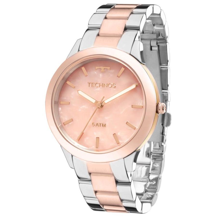 3dea7206bdb Relógio Technos Prateado e Ouro Rosa Feminino Fashion Unique Y121E5DG 5T