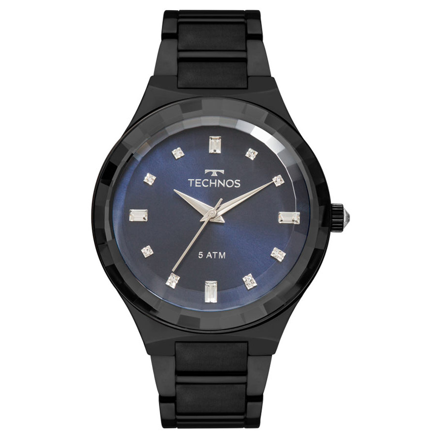 489f07cfa24 Relógio Technos Preto Feminino Elegance Crystal 2036MJL 4A