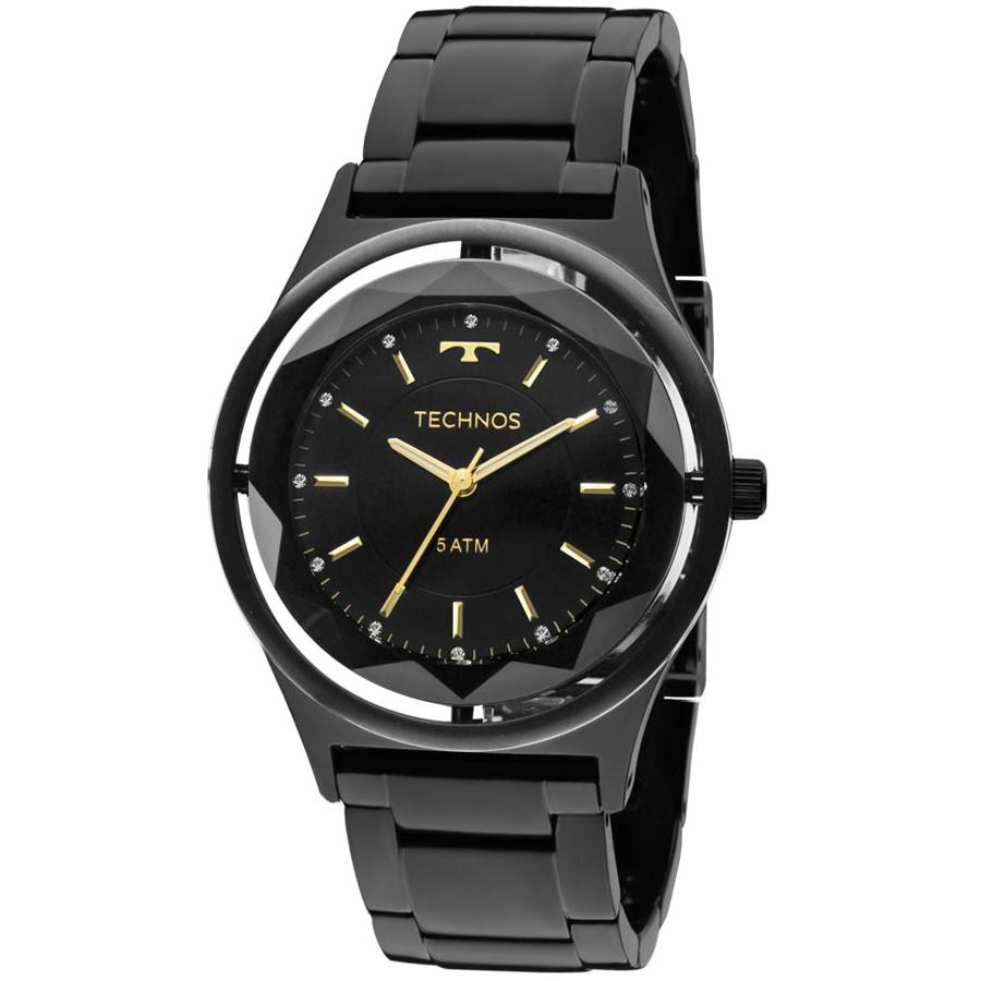 Relógio Technos Preto Feminino Elegance Crystal 2035MIB 4P 509a0dbcf2