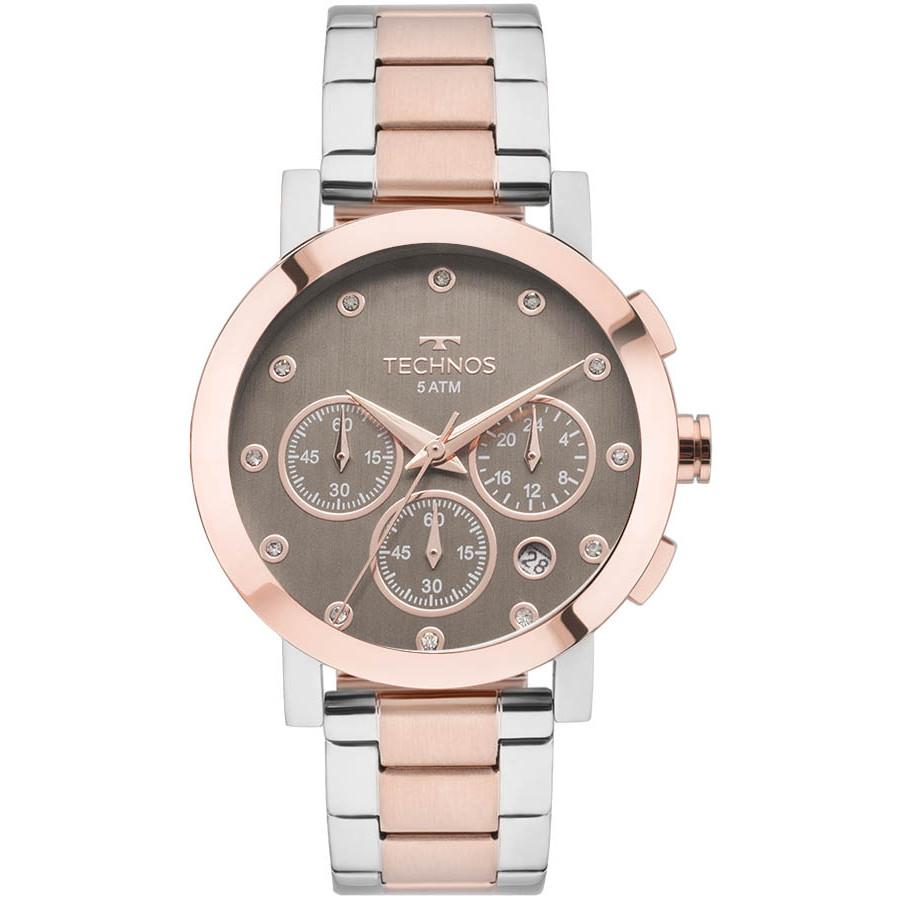 3eee3e78ad40a Relógio Technos Prateado e Rosé Feminino Ladies OS2ABK 5M