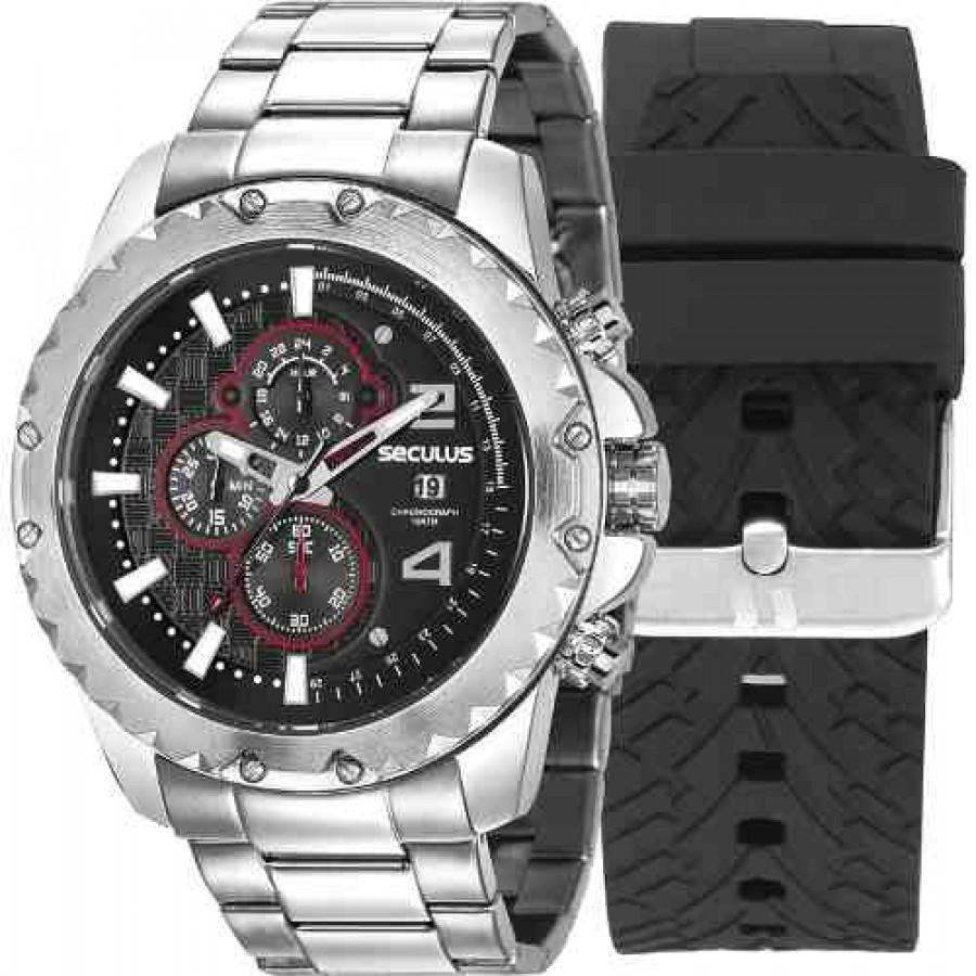 fa90e4ce75f Relógio Seculus Masculino 20604G0SVNS1 + Pulseira Silicone